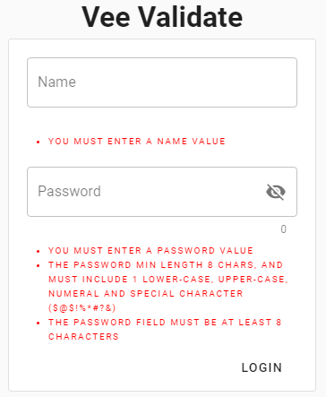 VeeValidate Vue.js login form using custom rule with errors displayed